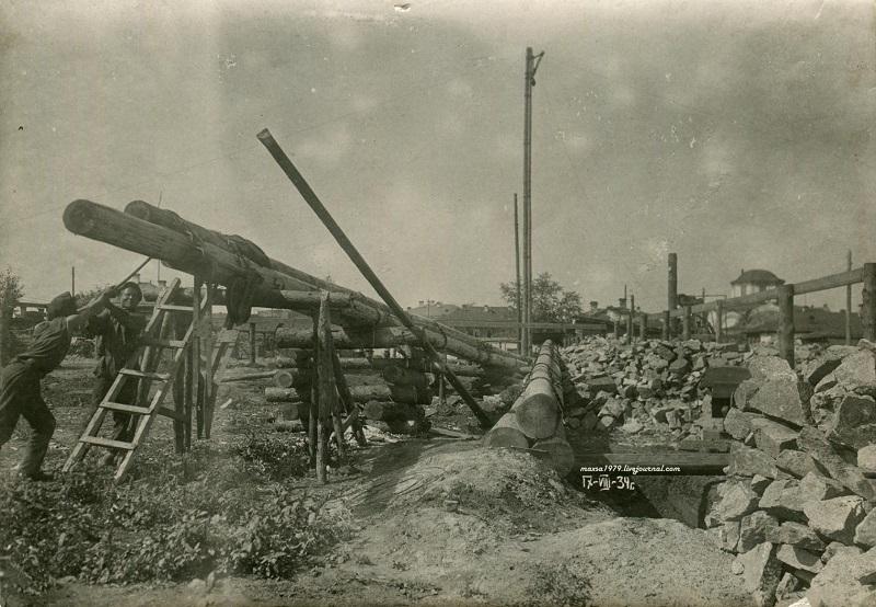 1934 год. Начало строительства дома для работников абразивного завода. Источник: https://chelchel-ru.livejournal.com/